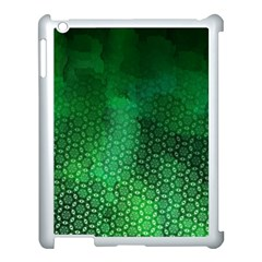 Ombre Green Abstract Forest Apple Ipad 3/4 Case (white) by DanaeStudio