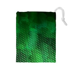 Ombre Green Abstract Forest Drawstring Pouches (large)  by DanaeStudio