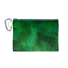 Ombre Green Abstract Forest Canvas Cosmetic Bag (m) by DanaeStudio