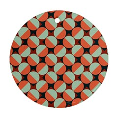 Modernist Geometric Tiles Round Ornament (two Sides)  by DanaeStudio