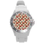 Modernist Geometric Tiles Round Plastic Sport Watch (L)