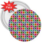 Modernist Floral Tiles 3  Buttons (10 pack)