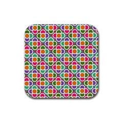 Modernist Floral Tiles Rubber Square Coaster (4 Pack)  by DanaeStudio