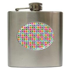 Modernist Floral Tiles Hip Flask (6 Oz) by DanaeStudio