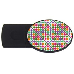 Modernist Floral Tiles Usb Flash Drive Oval (2 Gb)  by DanaeStudio