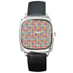 Modernist Floral Tiles Square Metal Watch