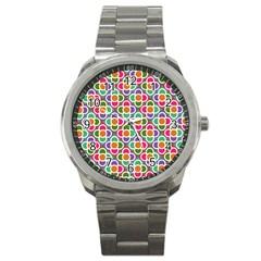 Modernist Floral Tiles Sport Metal Watch by DanaeStudio