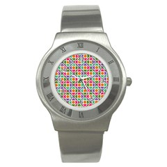 Modernist Floral Tiles Stainless Steel Watch by DanaeStudio