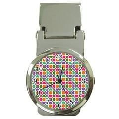 Modernist Floral Tiles Money Clip Watches by DanaeStudio