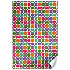 Modernist Floral Tiles Canvas 24  X 36  by DanaeStudio