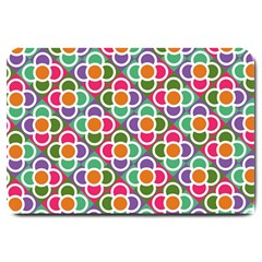 Modernist Floral Tiles Large Doormat  by DanaeStudio