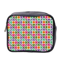 Modernist Floral Tiles Mini Toiletries Bag 2 Side by DanaeStudio