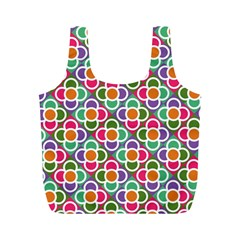 Modernist Floral Tiles Full Print Recycle Bags (m)  by DanaeStudio