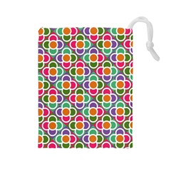 Modernist Floral Tiles Drawstring Pouches (large)  by DanaeStudio