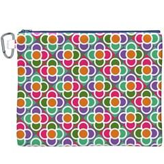 Modernist Floral Tiles Canvas Cosmetic Bag (xxxl) by DanaeStudio
