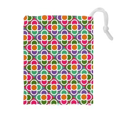 Modernist Floral Tiles Drawstring Pouches (extra Large) by DanaeStudio