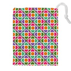 Modernist Floral Tiles Drawstring Pouches (xxl) by DanaeStudio