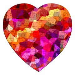 Geometric Fall Pattern Jigsaw Puzzle (heart) by DanaeStudio