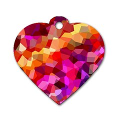 Geometric Fall Pattern Dog Tag Heart (two Sides) by DanaeStudio