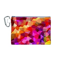 Geometric Fall Pattern Canvas Cosmetic Bag (m) by DanaeStudio