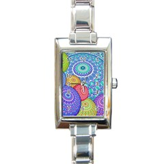 India Ornaments Mandala Balls Multicolored Rectangle Italian Charm Watch by EDDArt