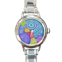 India Ornaments Mandala Balls Multicolored Round Italian Charm Watch by EDDArt