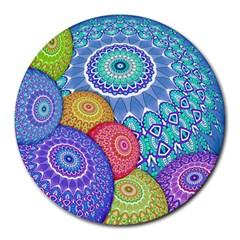 India Ornaments Mandala Balls Multicolored Round Mousepads by EDDArt