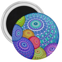 India Ornaments Mandala Balls Multicolored 3  Magnets by EDDArt