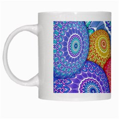 India Ornaments Mandala Balls Multicolored White Mugs by EDDArt