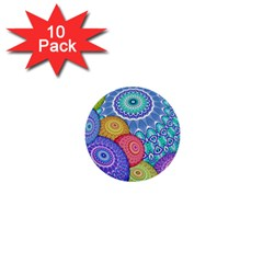 India Ornaments Mandala Balls Multicolored 1  Mini Buttons (10 Pack)  by EDDArt