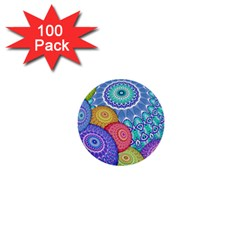 India Ornaments Mandala Balls Multicolored 1  Mini Buttons (100 Pack)  by EDDArt