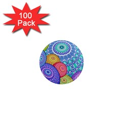 India Ornaments Mandala Balls Multicolored 1  Mini Magnets (100 Pack)  by EDDArt
