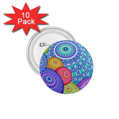 India Ornaments Mandala Balls Multicolored 1 75  Buttons (10 Pack) by EDDArt