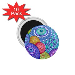 India Ornaments Mandala Balls Multicolored 1 75  Magnets (10 Pack)  by EDDArt