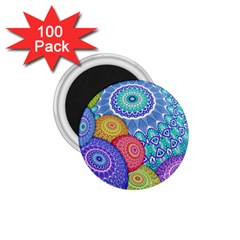 India Ornaments Mandala Balls Multicolored 1 75  Magnets (100 Pack)  by EDDArt