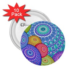 India Ornaments Mandala Balls Multicolored 2 25  Buttons (10 Pack)  by EDDArt