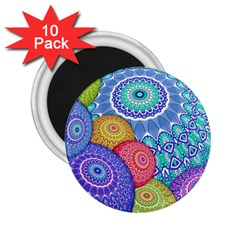 India Ornaments Mandala Balls Multicolored 2 25  Magnets (10 Pack)  by EDDArt