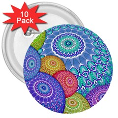 India Ornaments Mandala Balls Multicolored 3  Buttons (10 Pack)  by EDDArt