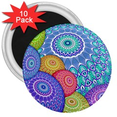 India Ornaments Mandala Balls Multicolored 3  Magnets (10 Pack)  by EDDArt