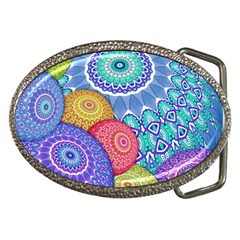 India Ornaments Mandala Balls Multicolored Belt Buckles by EDDArt