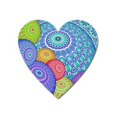 India Ornaments Mandala Balls Multicolored Heart Magnet by EDDArt