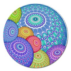 India Ornaments Mandala Balls Multicolored Magnet 5  (round) by EDDArt