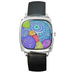 India Ornaments Mandala Balls Multicolored Square Metal Watch by EDDArt