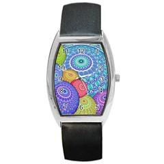 India Ornaments Mandala Balls Multicolored Barrel Style Metal Watch by EDDArt