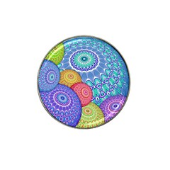 India Ornaments Mandala Balls Multicolored Hat Clip Ball Marker by EDDArt