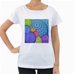 India Ornaments Mandala Balls Multicolored Women s Loose-Fit T-Shirt (White)