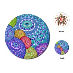 India Ornaments Mandala Balls Multicolored Playing Cards (round)  by EDDArt