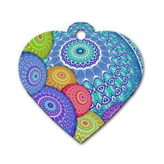 India Ornaments Mandala Balls Multicolored Dog Tag Heart (one Side) by EDDArt