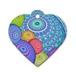India Ornaments Mandala Balls Multicolored Dog Tag Heart (Two Sides)