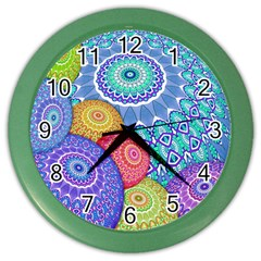 India Ornaments Mandala Balls Multicolored Color Wall Clocks by EDDArt